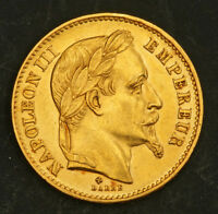 1869 FRANCE  2ND EMPIRE  NAPOLEON III. BEAUTIFUL GOLD 20 FRANCS COIN. 6.43GM