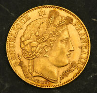 1899 FRANCE  3RD REPUBLIC . BEAUTIFUL GOLD 10 FRANCSCOIN. 3.23GM