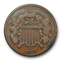 1870 TWO CENT PIECE FINE F BETTER DATE US TYPE COIN 2377