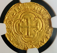 1555 SPAIN; CHARLES & JOANNA. GOLD ESCUDO COB COIN. TOP POP  GRANADA  NGC MS64