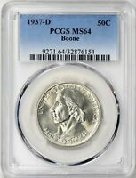 1937-D BOONE SILVER HALF DOLLAR COMMEMORATIVE MINT STATE 64 PCGS .. MINTAGE OF 2,506