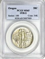 1938-S OREGON TRAIL SILVER COMMEMORATIVE HALF DOLLAR MINT STATE 65 PCGS  6,006 MINTED