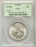 1937 BOONE SILVER HALF DOLLAR COMMEMORATIVE MINT STATE 64 PCGS OGH .. MINTAGE 9,810