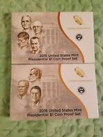 2015 & 2016 S PROOF PRESIDENTIAL DOLLAR $1 COIN SETS WITH BOXES AND COA 57