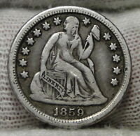 1859 O  SEATED LIBERTY DIME, 10 CENTS. KEY DATE ONLY 480,000 MINTED,  6913