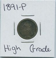 1891-P SEATED LIBERTY DIME US MINT SILVER COIN HIGH GRADE
