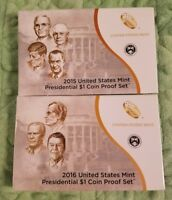2015-S & 2016 S PROOF PRESIDENTIAL DOLLAR $1 COIN SETS WITH BOXES AND COA 150