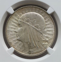 NGC-MINT STATE 62  1932 POLAND 10Z SILVER UNC