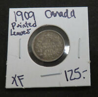 1909 CANADIAN 5 CENT POINTED LEAVES XF