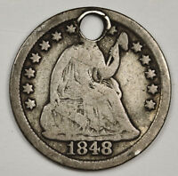 1848 LIBERTY SEATED HALF DIME.  HOLED DETAIL.   128494