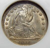 1838 NGC MINT STATE 64 SEATED LIBERTY HALF DIME