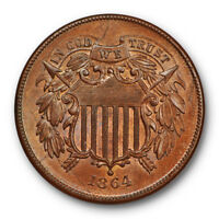 1864 TWO CENT PIECE UNCIRCULATED HIGH END MINT STATE COIN BROWN SCRATCHED 10657