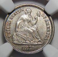 1871 NGC MINT STATE 62 SEATED LIBERTY HALF DIME