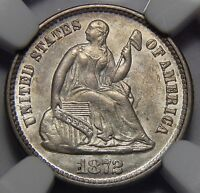 1872 NGC MINT STATE 61 SEATED LIBERTY HALF DIME
