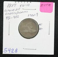 1857 FLYING EAGLE CENT VG CLASHED DIE CHERRYPICKERS SNOW 9