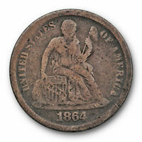 1864 S SEATED LIBERTY DIME FINE F KEY DATE COIN SAN FRANCISCO MINT 3601