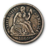 1869 S SEATED LIBERTY DIME EXTRA FINE EXTRA FINE  BETTER DATE US COIN 4743