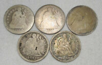 LOT OF 5 SEATED LIBERTY SILVER DIME COINS 1852-1889 AG110