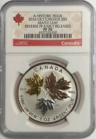 2016 $5 CANADA SILVER MAPLE LEAF GILT NGC PF70 REVERSE PROOF