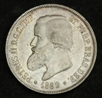 1889 BRAZIL  PEDRO II. SILVER 2000 REIS COIN. AU   DOUBLE PUNCHED