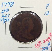 1798 1C 2ND HAIR STYLE BN DRAPED BUST LARGE CENT IN FINE CONDITION