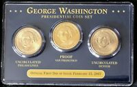 2007 FIRST DAY OF ISSUE GEORGE WASHINGTON PRESIDENTIAL COIN SET P, S & D
