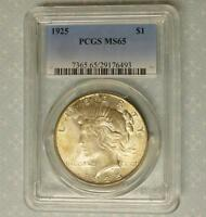 1925 PCGS MINT STATE 65 PEACE SILVER DOLLAR,  MINT LUSTER, GEM MINT STATE 65 SILVER $1