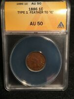 SHARP 1886 TYPE 1 INDIAN HEAD CENT, ANACS AU-50 GREAT COLLECTOR COIN & GRADE