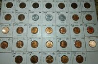 COMPLETE 1940 P,D&S THROUGH 1950 P,D&S 33-COIN BU LINCOLN WHEAT CENT SET.