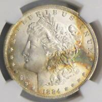 1884 O NGC MINT STATE 64 MORGAN SILVER DOLLAR, MINT STATE 64 $1, UNIQUE BLUE COLOR TONE