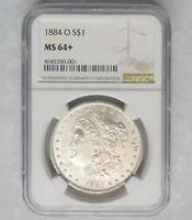 1884 O NGC MINT STATE 64  MORGAN SILVER DOLLAR, MINT STATE 64 PLUS SILVER $1 COIN