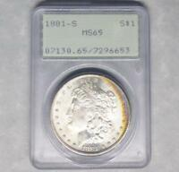 1881 S PCGS MINT STATE 65 MORGAN SILVER DOLLAR, PQ LUSTER,  COLOR TONE, GREEN LABEL
