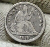 1838 SEATED LIBERTY DIME 10C  -  COIN, SHIPS FREE 5918