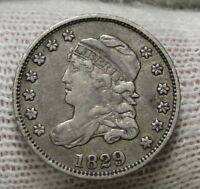 1829 CAPPED BUST HALF DIME H10C 5 CENTS -  OLD COIN, SHIPS FREE  6914