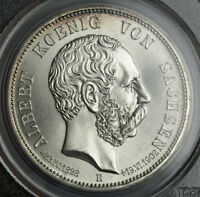 1902 SAXONY ALBERT I. SILVER 5 MARK COIN. 1 YEAR MOURNING ISSUE  PCGS MS64