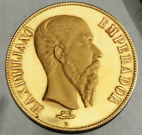 1866 MEXICO MAXIMILIAN I. LARGE PROOF LIKE GOLD MEDAL BY ANGEL BARN. 18.47GM