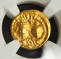 HERACLUIS & HER. CONSTANTINE  613 641  GOLD SOLIDUS COIN. CARTHAGE  NGC CH VF
