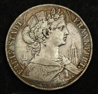 1858 FRANKFURT  FREE CITY . SILVER THALER COIN. TYPE WITH TOWERS FLANKING BUST
