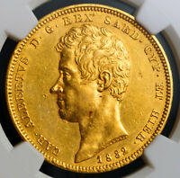 Click now to see the BUY IT NOW Price! 1832 KINGDOM OF SARDINIA CHARLES ALBERT. LARGE GOLD 100 LIRE COIN. NGC AU 58