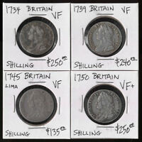 4 BRITISH SILVER SHILLINGS  1734 1750    ATTRACTIVE   CV $87
