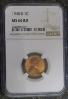 1948 D LINCOLN CENT NGC MINT STATE 66 RD