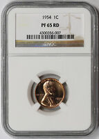 1954 LINCOLN WHEAT CENT 1C PROOF PF 65 RD RED NGC