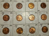 DEALER LOT OF 12 BU LINCOLN WHEAT CENTS. 4X 1950, 4X 1950D, 4X 1950S.
