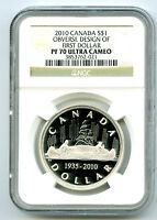 1935 2010 CANADA $1 VOYAGEUR SILVER PROOF NGC PF70 OBVERSE D