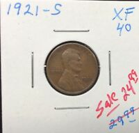 1921-S 1C BN LINCOLN CENT IN EXTRA FINE  CONDITION