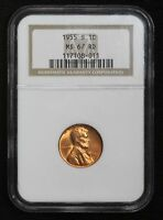 1955-S WHEAT CENT NGC MINT STATE 67 RED
