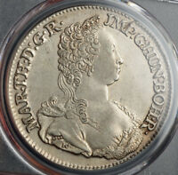 1751 AUSTRIAN NETHERLANDS MARIA THERESA. LARGE SILVER DUCATON COIN. PCGS AU