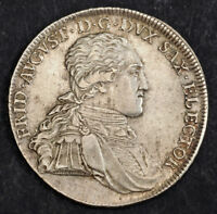 1795 SAXONY  ELECTORATE  FREDERICK AUGUSTUS I. LARGE SILVER THALER COIN.AU