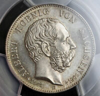 1902 SAXONY ALBERT I. SILVER 2 MARK COIN. 1 YEAR MOURNING ISSUE  PCGS MS65