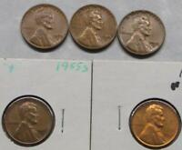 5 DIE CHIP MINT ERROR PENNIES 1955 S&D 1961 DIE CHIPS AT DATE LINCOLN WHEAT CENT